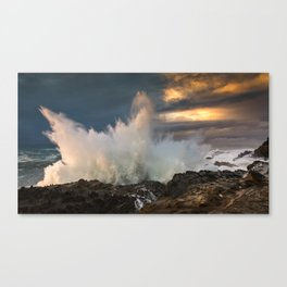 Huge Monster Waves at Shore Acres State Park, Oregon Canvas Print