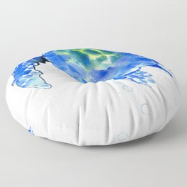 Blue Sea Turtle Floor Pillow