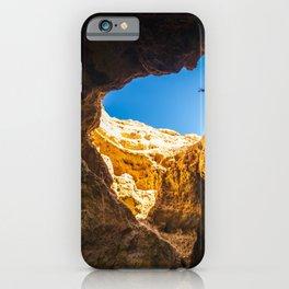 Dramatic sea cave along Algarve coast in Portugal iPhone Case