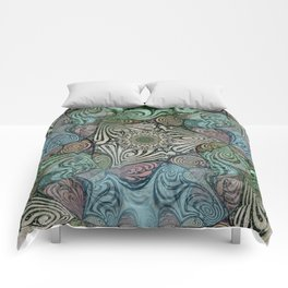 Labyrinth Mandala Blue Green Grey Comforters