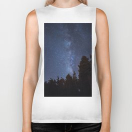 Starry night with the Milky Way in a pine forest Biker Tank