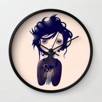 nan lawson Wall Clocks featuring Edward by Nan Lawson