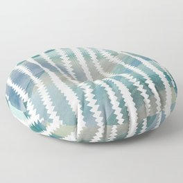 Banksia Leaf Lines in Blue and Butter Floor Pillow