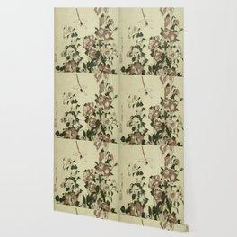 Hokusai – campanula and odonata -insect,flower, nature,garden Wallpaper