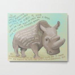 Northern White Rhino Metal Print