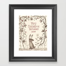 Rabbit says 'draw'! Framed Art Print
