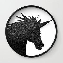 Black Glitter Unicorn Wall Clock