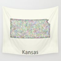 kansas Wall Tapestries featuring Kansas map by David Zydd