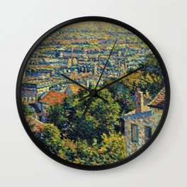 Hill of Montmartre overlooking Paris by Maximilian Luce Wall Clock