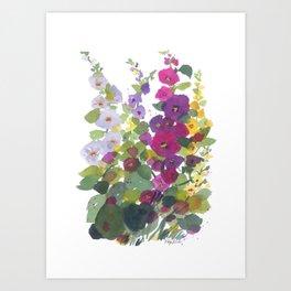 Purple Hollyhock Garden Art Print