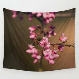 Bee on Redbud Wall Tapestry