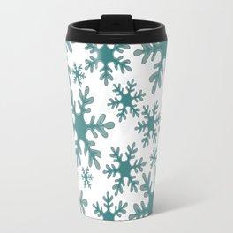 Blue Snowflake Pattern Travel Mug