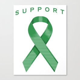 Green Awareness Ribbon Canvas Print