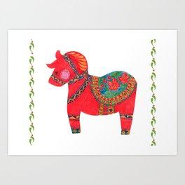 The Red Dala Horse Art Print