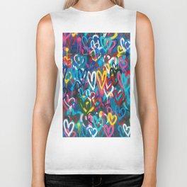 Graffiti Hearts Love (Color) Biker Tank
