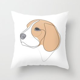 Beagle - one line drawing Throw Pillow