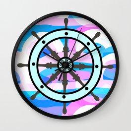 Ship's wheel on abstract marine background Wall Clock