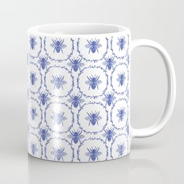 Vintage Shabby Chic Bees in Laurel Wreaths in Delft China Blue Coffee Mug