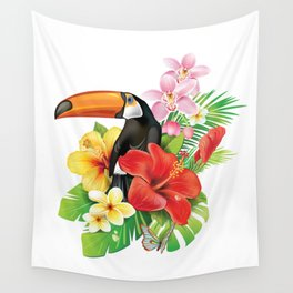 Tropical Toucan Collage Wall Tapestry