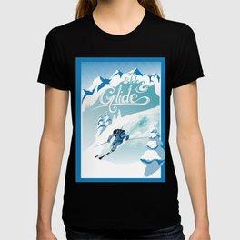 Slide and Glide modern retro ski poster T-shirt