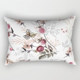 Vintage vector illustration with wild rose berries  Rectangular Pillow