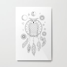 dreamcatcher with owl, yin yang, moon and sun Metal Print