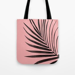 Simple black palm leaves with pink Tote Bag