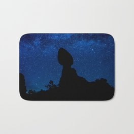 Balanced Rock Silhouette And The Milky Way Bath Mat