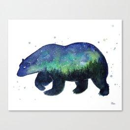Polar Bear Silhouette with Northern Lights Galaxy Canvas Print