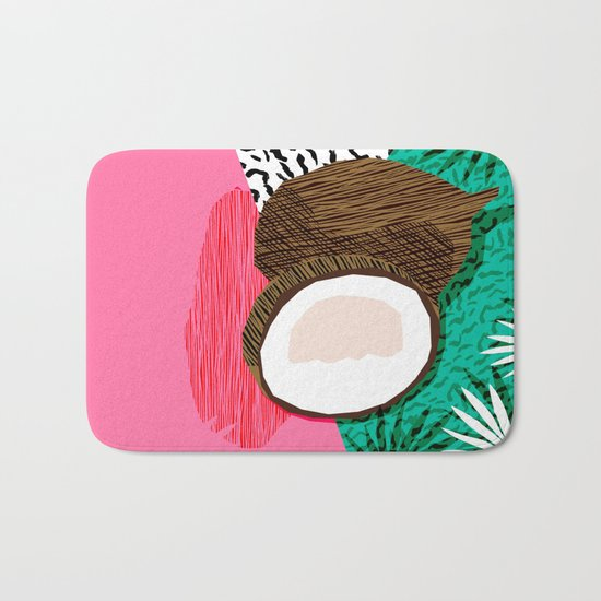 Bada Bing - memphis throwback tropical coconuts food vegan nature abstract illo neon 1980s 80s style Bath Mat