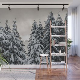 Winter Woods II - Snow Capped Forest Adventure Nature Photography Wall Mural