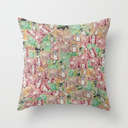 Bed of Money Throw Pillow