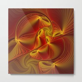 Golden and Red, Abstract Fractal Art Metal Print