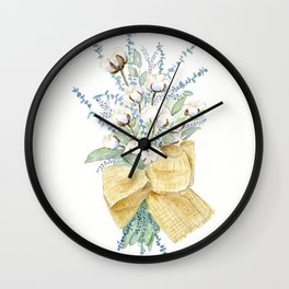 Cotton and Flower Bouquet Watercolor by Liz Ligeti Kepler Wall Clock