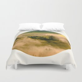 Mid Century Modern Round Circle Photo Graphic Design Foggy Green Country Landscape Duvet Cover