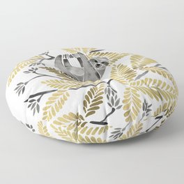 Happy Sloth – Tropical Gold Leaves Floor Pillow