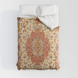 Persia Tabriz 19th Century Authentic Colorful Dusty Tan Red Blush Vintage Patterns Comforters