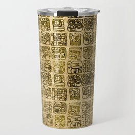 Mayan and aztec glyphs gold on vintage texture Travel Mug