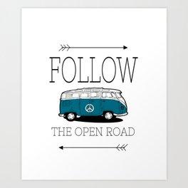 Follow The Open Road Blue Peace Bus Art Print