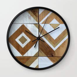 White Chevron Painting on Reclaimed Wood Wall Clock