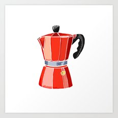 Red Italian Stove-Top Cafetiere Art Print