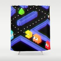 pac man Shower Curtains featuring Pac-Man trixels  by Marco Mottura - Mdk7
