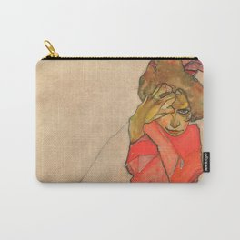 "Egon Schiele ""Kneeling Female in Orange-Red Dress"" Carry-All Pouch"