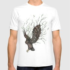 Forest Owl  MEDIUM Mens Fitted Tee White
