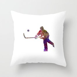 Hockey man player 04 in watercolor Throw Pillow