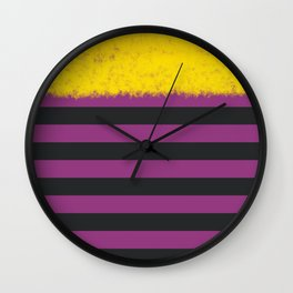 Plum and Charcoal Stripes with Yellow Wall Clock