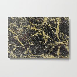 Marble - Glittery Gold Marble on Black Design Metal Print