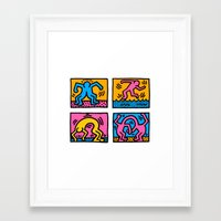 keith haring Framed Art Prints featuring Keith Haring Pop Shop Quad by cvrcak