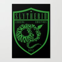 slytherin Canvas Prints featuring Slytherin Crest by machmigo