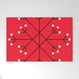 Mod Snowflake Dark Cherry Welcome Mat